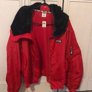 Red   Puffer jacket  pink by victoria secret